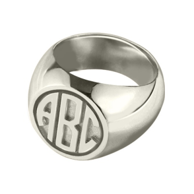 Glaring Sterling Silver Personalized Block Monogram Signet Ring