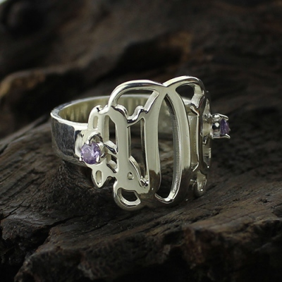 Amazing Sterling Silver Monogram Ring with Birthstones For Women