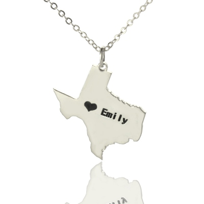 Silver Charming USA Texas State With Heart & Name Necklace