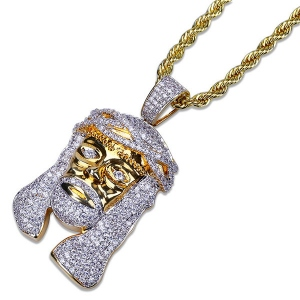 Jesus Piece CZ Hip Hop Pendant in Gold