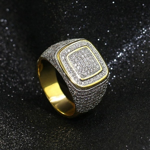 Iced Out Platform Ring in Gold