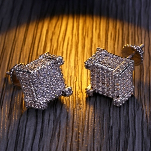 Micro Pave Iced Out 3D CZ Hip Hop Earrings