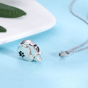Engraved Cat cinerary necklace