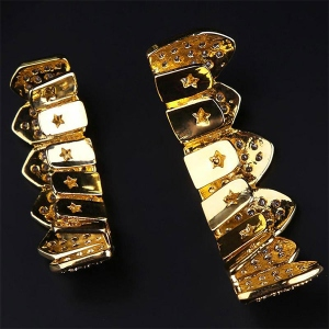Gold Plated Micro Pave CZ Fang Grillz Teeth Set