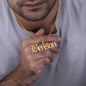 Personalized Old English Name Necklace for Man
