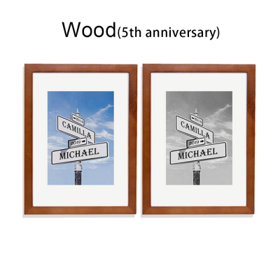 Customized Love Intersection Photo Print Frame for Anniversary Gift
