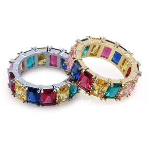 Iced Out Rainbow CZ Mens Hip Hop Ring