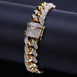 Mens Iced Out Hip Hop Cuban Link Bracelet