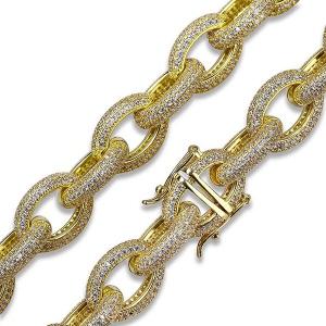 Iced Out Hip Hop Oval Link Bracelet For Men