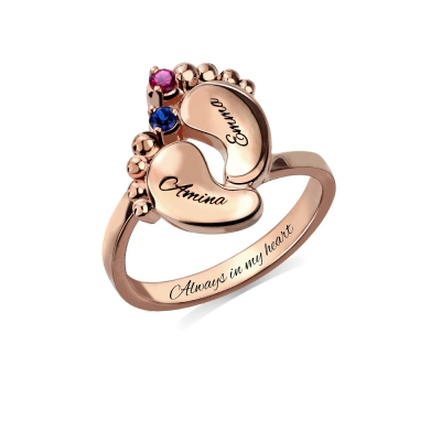 Engraved 1-4 Names Baby Feet Ring with Birthstone