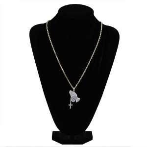 CZ Praying Hands with Cross Necklace in Gold