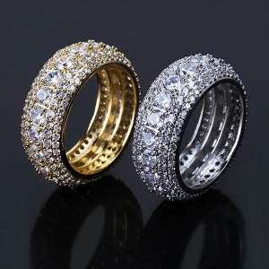 5 Layer CZ Band Ring in Gold