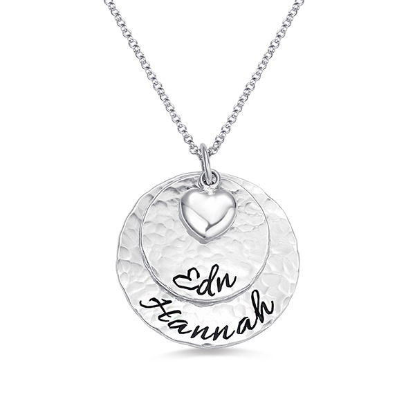 Engraved Hammered 2 Disc Necklace Pure Silver