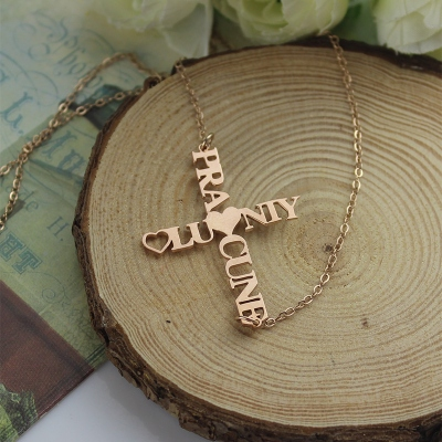 Rose Gold Plated 925 Silver Appealing Personalized Two Name Cross Necklace