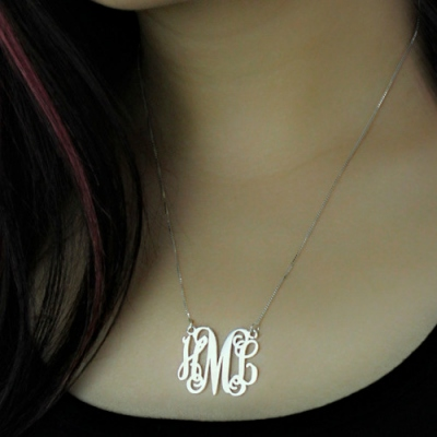 Magnificent Personalized Sterling Silver Monogram Initial Necklace