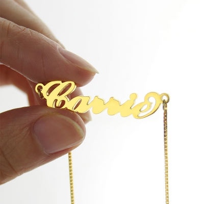 Brilliant Gold Sex and The City Carrie Box Chain Name Necklace