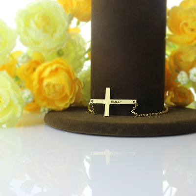 "Gorgeous 1.25"" Engraved Name Gold Plated Silver Latin Cross Necklace"