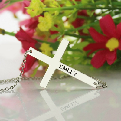 "Charming 1.25"" Silver Latin Cross Engraved Name Necklace"