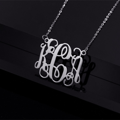 Solid White Gold 10k/14k/18k Attractive Personalized Monogram Necklace