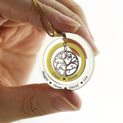 Unique Circle Family Tree with Family Member's Names Necklace