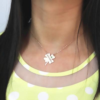Superb Rose Gold Irish Four Leaf Clover Gift Good Luck Necklace