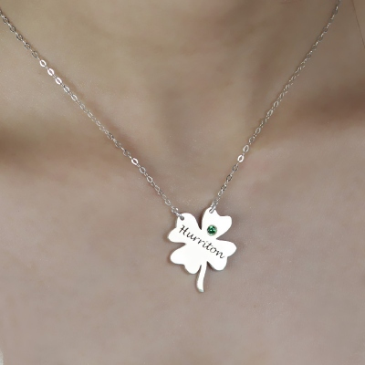Fancy Sterling Silver Clover Good Luck Charm Shamrocks Necklace
