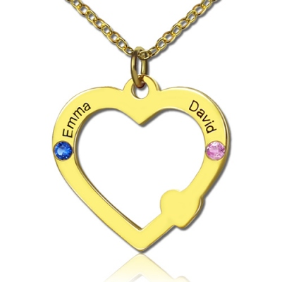 Sparkling 18k Gold Open Heartwith Double Names & Birthstones Necklace