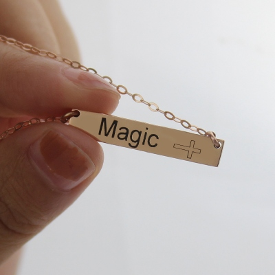 Rose Gold Classical Engraved Bar Name with Icon Necklace