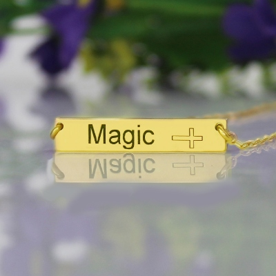 18K Gold Plated Exquisite Bar with Customizable Icon Name Necklace