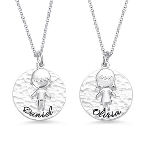 Personalized Hammered Children Name Necklace for Mother