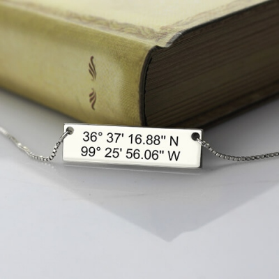 Beautiful Custom Silver Latitude Longitude Coordinates Address Necklace