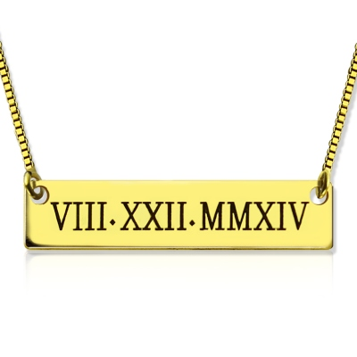 Fantastic 18K Gold Plated Personalized Roman Numeral Bar Necklace