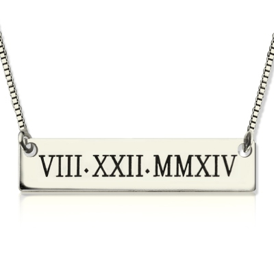 Graceful Sterling Silver Custom Roman Numeral Bar Necklace