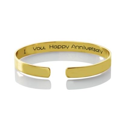 Exquisite 18k Gold Plated Engravable Latitude Longitude Coordinate Cuff Bracelet