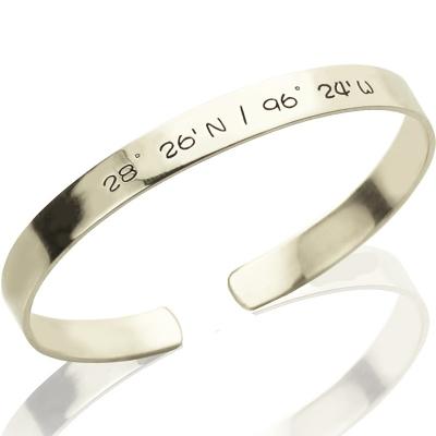 Attractive Personalized Latitude Longitude Coordinate Cuff Bangle Bracelet