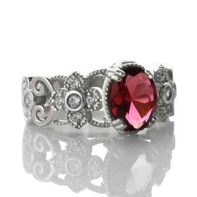 Gorgeous Birthstone Engraved Mantilla Oval Silver Name Ring