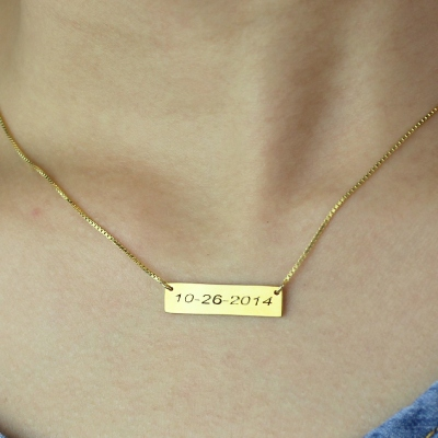 18K Gold Plated Magnificent Engraved Date Bar Necklace