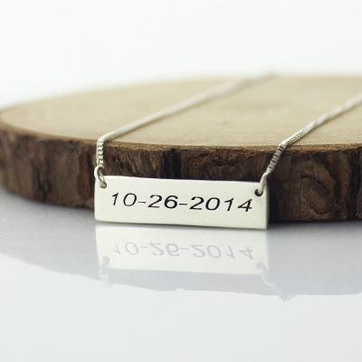 Sterling Silver Fine Personalized Date Bar Necklace