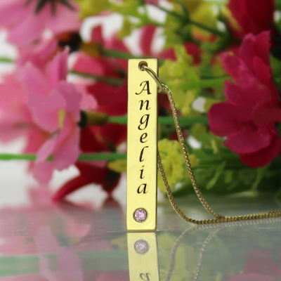 Gorgeous Personalized Name Tag Vertical Gold Bar Necklace