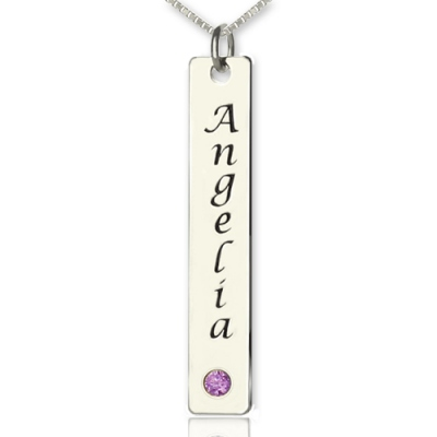 Striking Silver Birthstone Vertical Name Tag Bar Necklace
