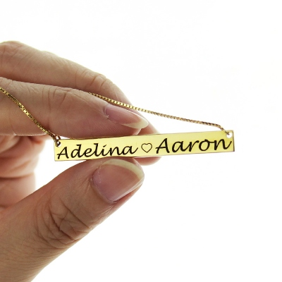 Chic Engraved Double Names Gold Bar Lovers Necklace