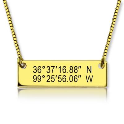 18K Gold Plated Elegant GPS Map Nautical Coordinates Necklace
