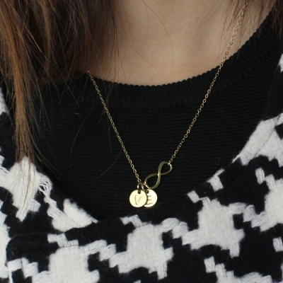 Graceful 18k Gold Plated With Disc Initial Charm Infinity Necklace