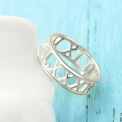Excellent Custom Sterling Silver Roman Numerals Ring
