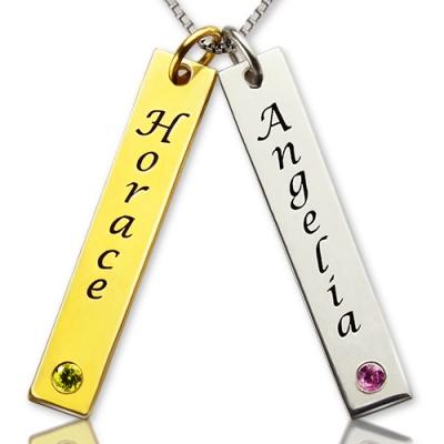 Wonderful Custom Birthstones Couple Name Tag Necklace
