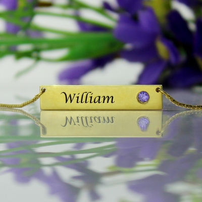 Exquisite 18K Gold Plated with Birthstone Name Bar Necklace