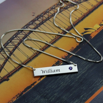 Classical Nameplate with Birthstone Silver Bar Necklace