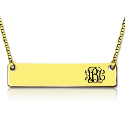 Meaningful Personalized Gold Bar Monogram Initial Necklace