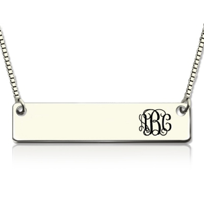 Fashionable Sterling Silver Engraved Monogram Initial Bar Necklace