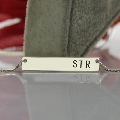 Fashionable 3 Initials Sterling Silver Bar Necklace